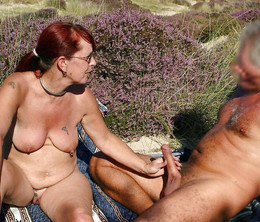 The mature nudist, public beach handjob